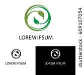 green leaf circle logo | Shutterstock .eps vector #609107054