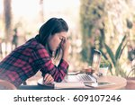 feeling tired and stressed... | Shutterstock . vector #609107246