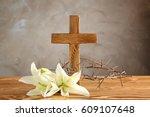 crown of thorns  wooden cross... | Shutterstock . vector #609107648