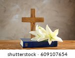 Wooden Cross  Holy Bible And...
