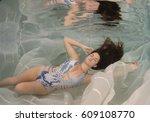 brunette model posing in a...   Shutterstock . vector #609108770