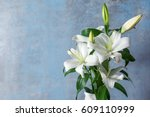 beautiful white lilies on... | Shutterstock . vector #609110999