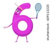 six cute fun colorful figure in ... | Shutterstock .eps vector #609112220