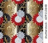 floral seamless pattern. gold... | Shutterstock .eps vector #609113648