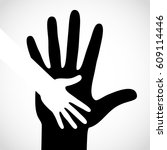 black color big hand and white... | Shutterstock . vector #609114446