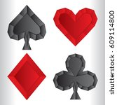 a set of custom low poly style... | Shutterstock .eps vector #609114800