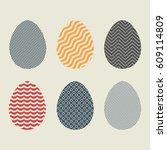 different easter eggs | Shutterstock .eps vector #609114809