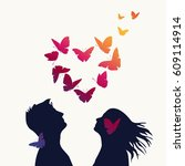 the girl and boy with swarm of... | Shutterstock .eps vector #609114914