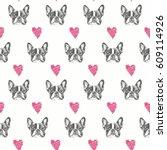 french bulldog seamless pattern. | Shutterstock .eps vector #609114926