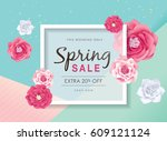 spring sale poster with... | Shutterstock .eps vector #609121124