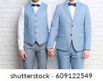 happy gay couple holding hands... | Shutterstock . vector #609122549