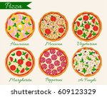 pizza set vector illustration.... | Shutterstock .eps vector #609123329