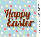 elegant easter egg lettering on ...   Shutterstock .eps vector #609124898