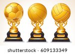 3d abstract gold sport ball... | Shutterstock . vector #609133349