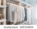 modern interior wardrobe with... | Shutterstock . vector #609134654