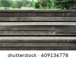 Wooden Step  On Green Background