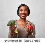 african american woman with... | Shutterstock . vector #609137888