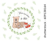 doodle set of best friends cute ... | Shutterstock .eps vector #609138164