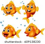 cute fish cartoon collection set | Shutterstock .eps vector #609138230