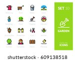 outline color icons set in thin ...   Shutterstock .eps vector #609138518