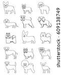 small dog breeds line art set | Shutterstock .eps vector #609138749
