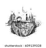 beautiful angel girl underwater ... | Shutterstock .eps vector #609139328