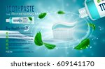 refreshing mint  toothpaste ads ... | Shutterstock .eps vector #609141170