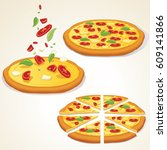 margarita pizza kit.... | Shutterstock . vector #609141866