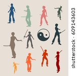 kung fu martial art silhouettes ... | Shutterstock .eps vector #609143603