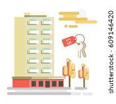 residential building and flat... | Shutterstock .eps vector #609146420