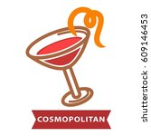 cocktail cosmopolitan of... | Shutterstock .eps vector #609146453