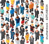 people crowd seamless pattern. ... | Shutterstock . vector #609148034