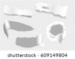 ripped of paper on a... | Shutterstock .eps vector #609149804