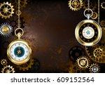 steampunk brown  rusty ...   Shutterstock . vector #609152564