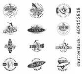 surfing monochrome badges . set ... | Shutterstock .eps vector #609153818
