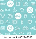 hipster pattern background on a ... | Shutterstock .eps vector #609162560
