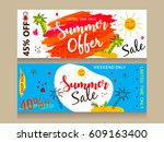 a set of website header or... | Shutterstock .eps vector #609163400