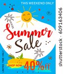 "colorful ""summer sale"" flyer... | Shutterstock .eps vector #609163406"