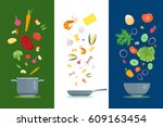 cartoon dishes and ingredients... | Shutterstock .eps vector #609163454