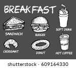 breakfast food and drink | Shutterstock .eps vector #609164330