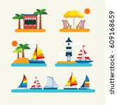 sailboat in the sea | Shutterstock .eps vector #609168659