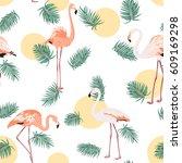 green tropical jungle palm tree ... | Shutterstock .eps vector #609169298