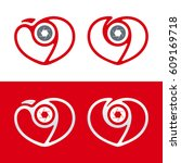 heart and shutter shaped... | Shutterstock .eps vector #609169718