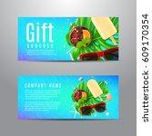 blue gift voucher with summer... | Shutterstock .eps vector #609170354