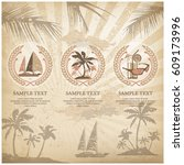 set of travel symbols and signs ... | Shutterstock .eps vector #609173996