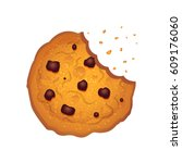 bitten  chip cookie vector... | Shutterstock .eps vector #609176060