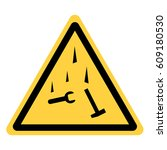 vector yellow triangle safety... | Shutterstock .eps vector #609180530