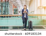 tourist woman is alone in an... | Shutterstock . vector #609183134