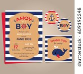 nautical baby shower party... | Shutterstock .eps vector #609192248