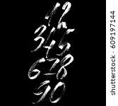 set of calligraphic ink numbers.... | Shutterstock .eps vector #609197144